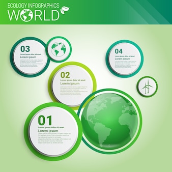 Insegna di infographics di ecologia verde di energia di protezione dell'ambiente verde con lo spazio della copia