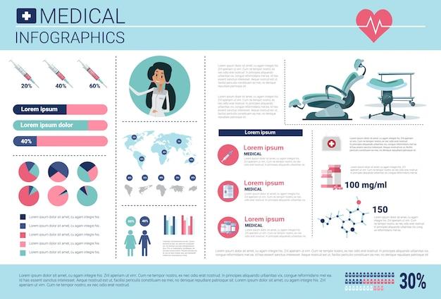 Insegna di informazioni di infographics della medicina di salute con lo spazio della copia