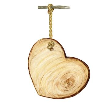 Insegna di legno del cuore dell'acquerello, spazio in bianco vuoto isolato.