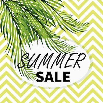 Insegna di media sociali di vendita di estate con le foglie della palma