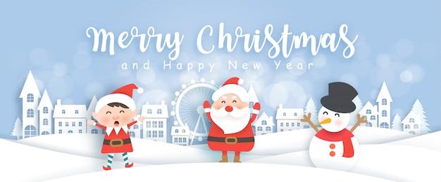 Insegna di natale con santa, il pupazzo di neve e l'elfo nel villaggio della neve nell'illustrazione di stile del taglio e del mestiere della carta