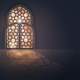 Insegna di progettazione islamica del fondo della cartolina d'auguri di eid mubarak