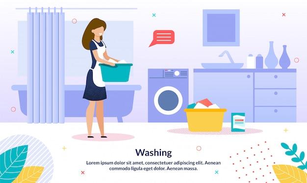 Insegna di pubblicità di vettore piano di servizio di lavanderia
