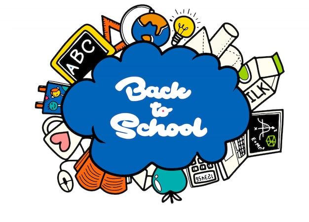 Insegna di ritorno a scuola con struttura dalle icone di arte di linea di istruzione