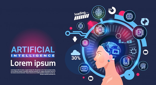 Insegna di robot di tecnologia moderna del cervello cyber capo di intelligenza artificiale femminile con lo spazio della copia