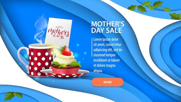 Insegna di sconto orizzontale blu moderno di festa della mamma