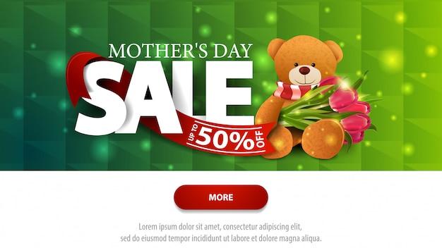 Insegna di sconto verde di vendita di festa della mamma con il bottone