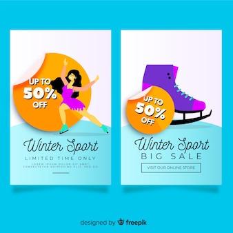 Insegna di vendita degli sport invernali della ragazza pattinante