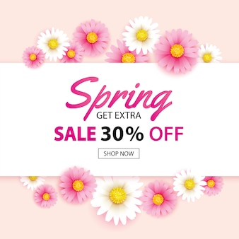 Insegna di vendita della primavera con il modello del fondo dei fiori di fioritura