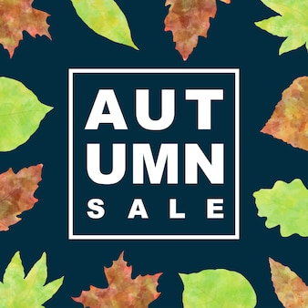 Insegna di vendita di autunno con le foglie dell'acquerello