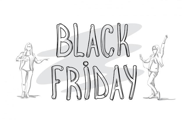 Insegna di vendita di black friday con il concetto di acquisto di festa della siluetta della gente di schizzo
