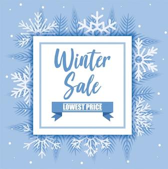 Insegna di vendita di inverno con progettazione di vettore dei fiocchi di neve