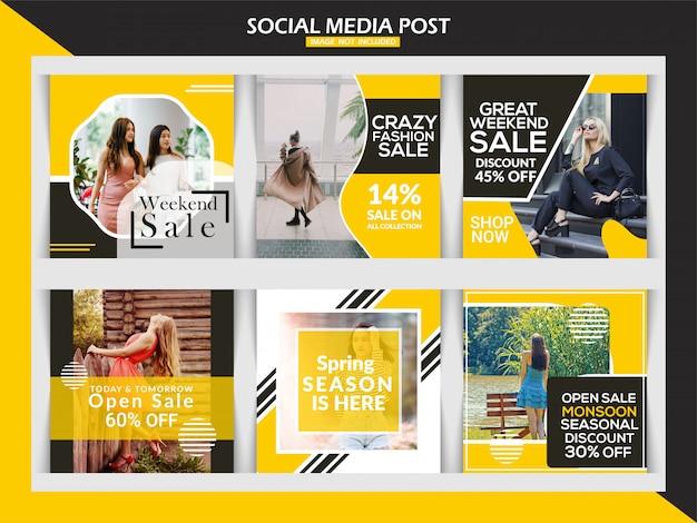 Insegna di vendita di moda o insieme del modello della posta quadrata di instagram
