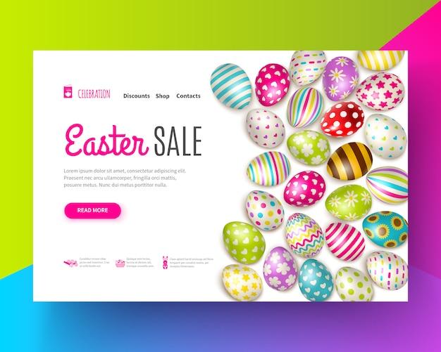 Insegna di vendita di pasqua decorata con varie uova dipinte su realistico colorato
