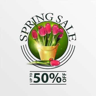 Insegna di vendita di primavera verde rotondo moderno con bouquet di tulipani