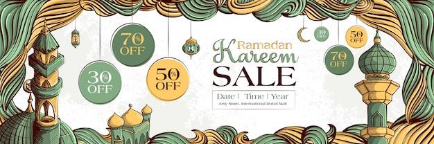 Insegna di vendita di ramadan kareem con l'ornamento islamico disegnato a mano dell'illustrazione sul fondo bianco di lerciume.
