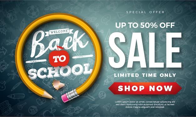 Insegna di vendita di ritorno a scuola con la matita della grafite e la lettera di tipografia sulla lavagna nera