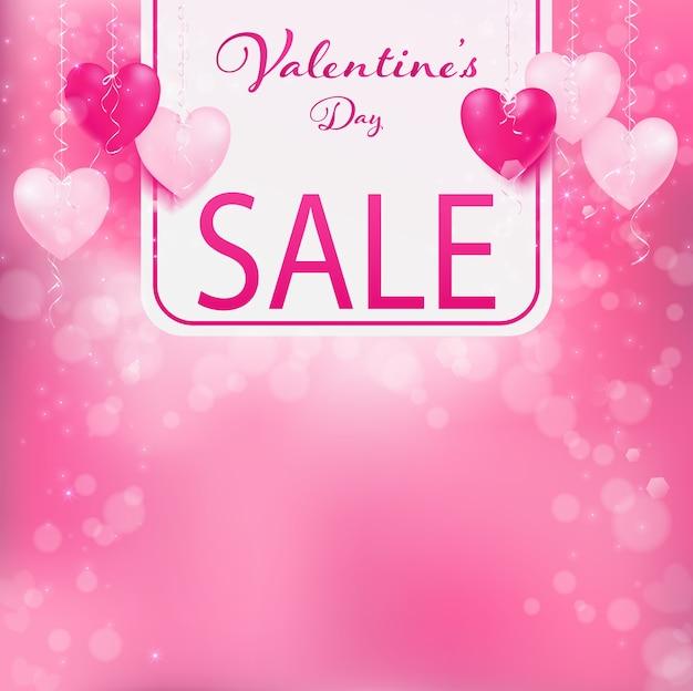 Insegna di vendita di san valentino, chiaramente vendita parola sul mezzo con banner bianco.