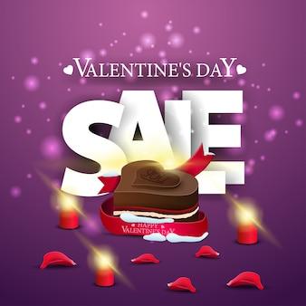 Insegna di vendita di san valentino moderno viola con caramelle al cioccolato