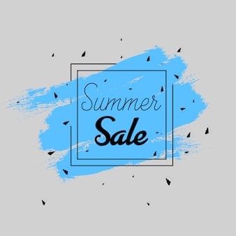 Insegna di vendite estive di colore di acqua in blu e grigio scuro