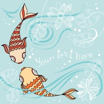 Insegna di vettore con il pesce di galleggiamento nel mare, waterlily e posto per il vostro testo