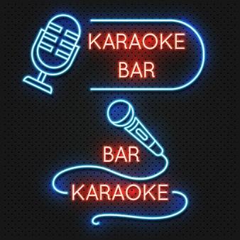 Insegna di vettore del night-club di karaoke del bordo della strada isolata. illustrazione dell'emblema del club di karaoke ed etichetta con il microfono