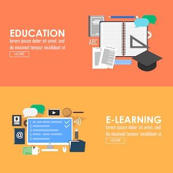 Insegna di vettore di istruzione ed e-learning. design piatto di apprendimento online