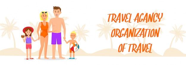Insegna di vettore di organizzazione di viaggio con iscrizione.