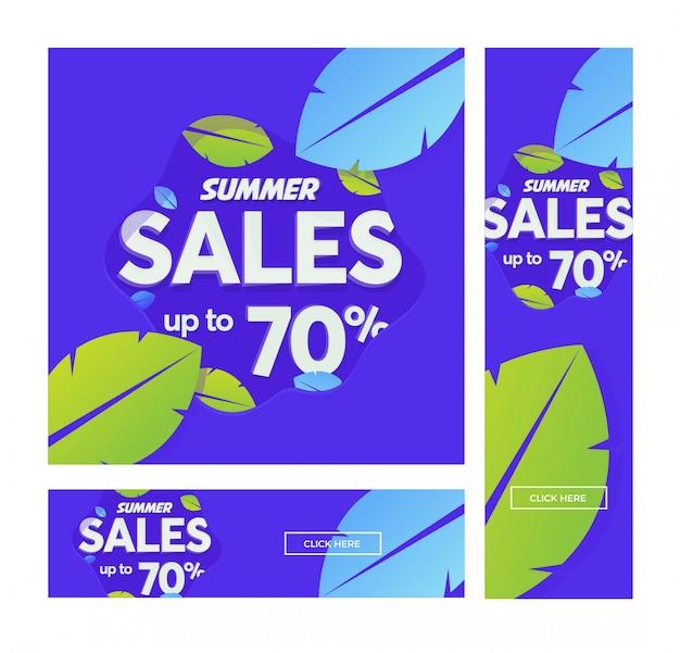 Insegna di vettore di vendita estiva con foglie in stile moderno.