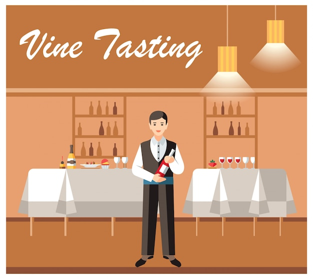 Insegna di vettore piana di evento di degustazione di vino