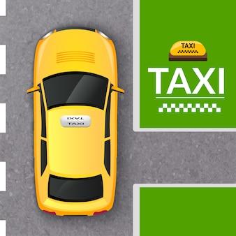 Insegna di vista superiore della carrozza gialla del taxi