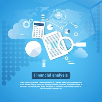 Insegna di web del modello con il concetto di analisi finanziaria dello spazio della copia
