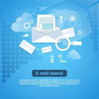 Insegna di web del modello con il concetto di ricerca del email dello spazio della copia