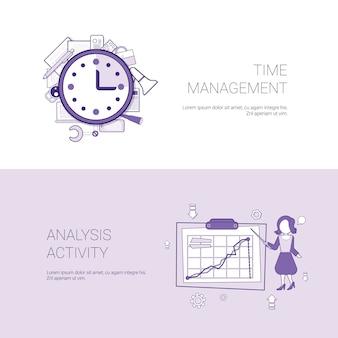 Insegna di web del modello di concetto di attività di analisi e di gestione di tempo con lo spazio della copia