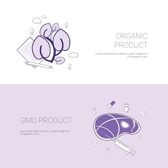 Insegna di web del modello di concetto di prodotto organico e di ogm con lo spazio della copia