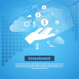 Insegna di web del modello di investimento con il concetto dello sponsor dei soldi dello spazio della copia
