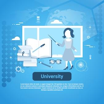 Insegna di web del modello di istruzione dell'università con lo spazio della copia