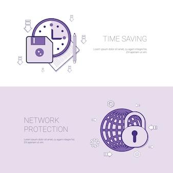 Insegna di web del modello di protezione della rete e di risparmio di tempo con lo spazio della copia