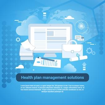 Insegna di web del modello di servizio di gestione del piano di salute con lo spazio della copia
