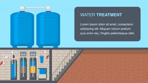 Insegna di web del sistema di trattamento delle acque con lo spazio del testo