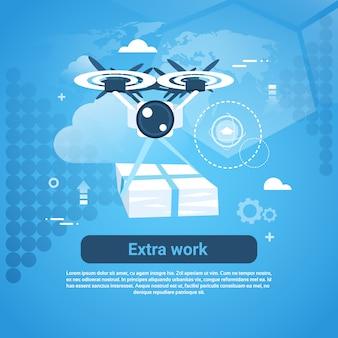 Insegna di web di concetto di affari del lavoro supplementare con lo spazio della copia