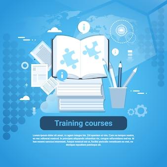 Insegna di web di concetto di istruzione di corsi di formazione