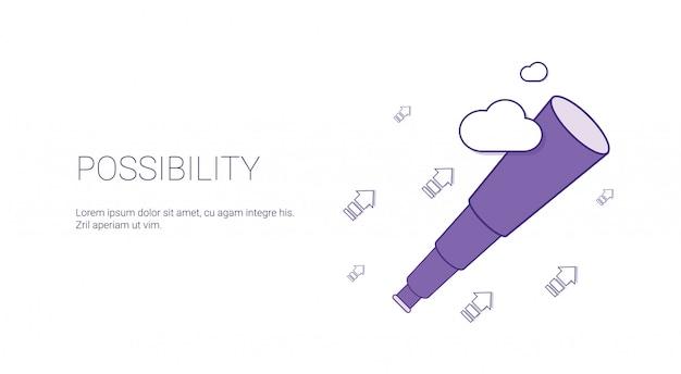 Insegna di web di possibilità con il concetto di motivazione di affari dello spazio della copia