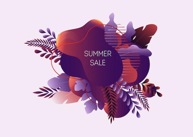 Insegna di web di vendita di estate con forme liquide astratte, foglie tropicali e testo isolato