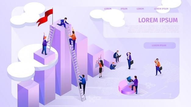 Insegna di web di vettore di isometrica della società analitica di dati