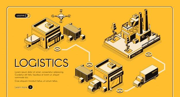 Insegna di web di vettore di isometrico di servizio di logistica di affari