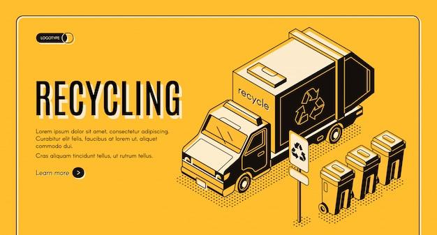 Insegna di web di vettore isometrico di servizio di riciclaggio dei rifiuti.