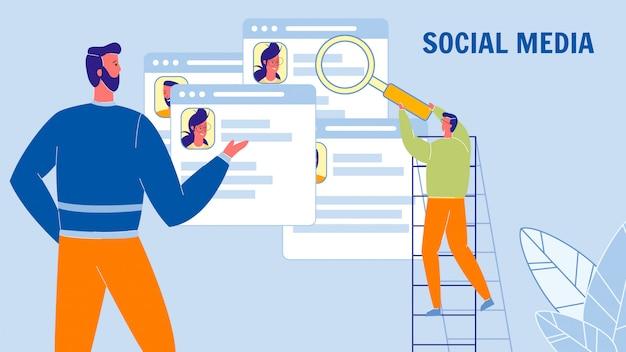 Insegna di web di vettore piatto di media sociali con testo