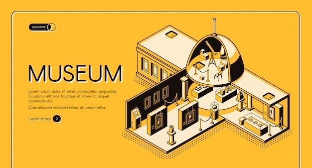 Insegna di web isometrica di vettore di sezione trasversale del museo storico, di arte o di scienza