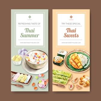 Insegna dolce tailandese con riso appiccicoso, illustrazione croccante tailandese dell'acquerello.